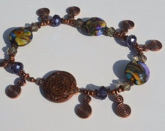 Sale Fall Lampwork Bracelet Antique Copper 50% Off