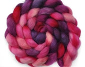 Hand painted spinning fiber - Wensleydale wool combed top roving - 4.3 ounces - Anticipation of Love 1