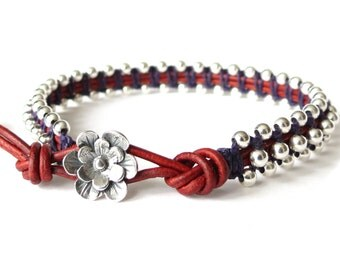 Intricate makrame bracelet with Irish waxed linen cord and silver beads, special 21st birthday gift, modern leather jewellery for women