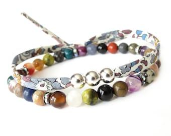 Layering bracelet set, mixed gemstone stretch bracelet & fabric tie wrap with silver beads, one of a kind jewellery bohemian style