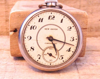 Antique New Haven Compensated Silver Pocket Watch, Works Intermittently