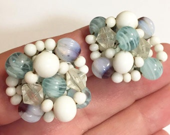 Vintage Blue and White Glass Beaded Cluster Clip On Earrings Stamped Japan