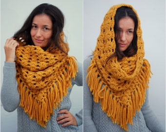 Chunky fringe merino wool triangle neck, unique winter accessories, Mustard big warm cowl
