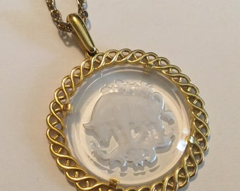 Crown TRIFARI Vinatge Necklace Zodiac Pendant w/ Chain
