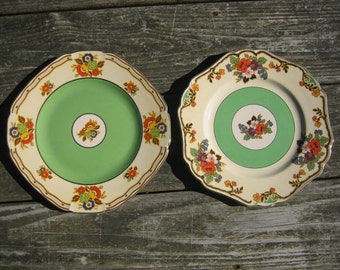 "2 John Maddock & Sons 9"" Green and Floral Royal Ivory Minerva Plates 1930s"