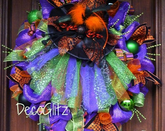 "Large 30"" Halloween TUTU WITCH Wreath with an Orange SPIDER Web Hat and Witch Legs"