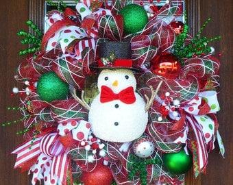 WHIMSICAL Deco Mesh Christmas SNOWMAN WREATH
