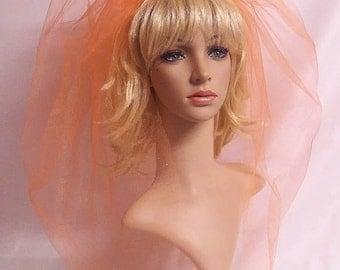 Wedding Veil,Orange Bubble Bridal Veil,Orange Bridal Accessories,Orange Veil