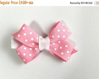 ON SALE Toddler Hair Bow - 2 inch Hair Clip - Pink White Polka - Boutique Bow with No Slip Grip - Baby, Toddler, Girl, Children