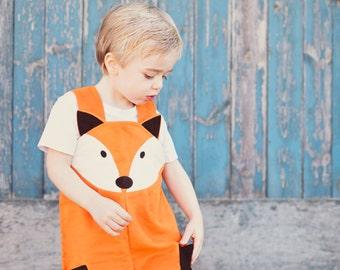 Fox dungaree costume overalls for children in soft orange cotton