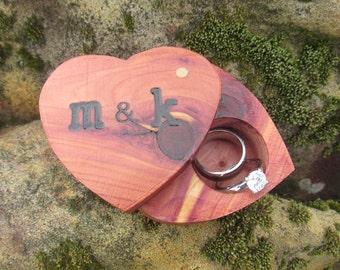 Heart Ring Box   Cedar Ring Box   Ring Box Proposa   Ring Box Ring Bearer  Unique Ring Box