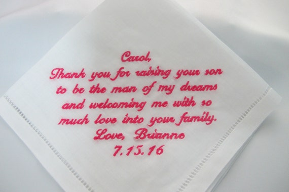 Embroidered Wedding Handkerchief 100% Linen for the Mother of the Groom