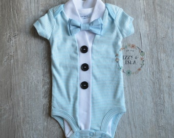 Baby Boy's Cardigan Onesie Set - Light Blue Striped Short Sleeve Cardigan & Bow Tie Set- Little Mister Onesie Set-Little Boy Cardigan Set