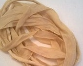 Tea Dyed Silk Ribbons and Cord - 3 One Yard Long Lengths of Silk Strings - 3mm Cord, 4mm Ribbon, 7mm Ribbon - For Jewelry Making or Crafting