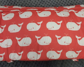 Nap Mat Girls Whales coral and gray