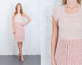 Vintage 70s Pink Color Block Dress Crochet Sheer Knee Boho Hippie XS 6323 vintage dress 70s dress pink dress color block dress xs dress
