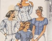 1988 If Princess Diana Were a Cowgirl Puff Sleeve Tops Vintage Pattern, McCalls 3698, Button Front, Curvy High Waist, Off Shoulder Victorian
