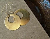 Golden Hoop Earrings, Boho Casual Minimal Earrings, Brass Statement Jewelry, 70s Style Retro Modern Mod Earrings, Hippie Dangle Earrings
