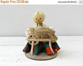 Vintage Weaving Girl Doll, Polish Folk art Doll, Ethnic Handmade Doll, Rustic home decor, Cottage chic, Gift for Girl, green, red, Nursery