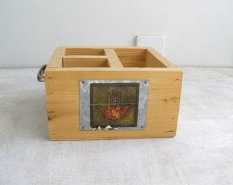 Vintage Wood Cutlery Remote Control Caddy , Shabby Rustic Kitchen Bathroom Workshop Studio Storage Box, Cutlery Organizer Natural Wooden Box