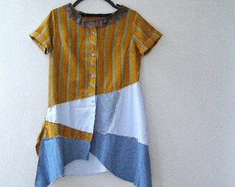 Upcycled Tunic Shirt Size S M, Eco Funky Patchwork Summer Women Top Orange Blue Cotton Asymmetrical Blouse Lace Neck, Boho Artsy Clothing