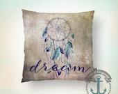 Dream Throw Pillow | Dreamcatcher Inspirational Native Home Decor  Product Sizes and Pricing via Dropdown Menu