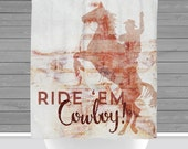 Cowboy Shower Curtain: Rustic Country Horseback Rodeo Decor | Made in the USA | 12 Hole Fabric Bathroom Decor