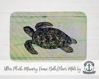 Plush Bath Mat - Sea Turtle French Script | Nautical Beach House Decor | Thick Memory Foam + Mold Resistant | Choose Size at Checkout.