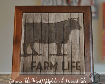 """Trivet Hot Plate:  Farm Life Cow  