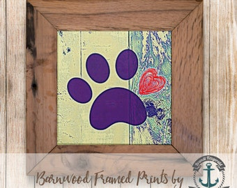 Paw Print Love - Framed in Reclaimed Barnwood Pet Decor - Handmade Ready to Hang | Size and Price via Dropdown