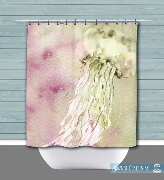 Beach House Shower Curtain Nautical Sea Creature Pink