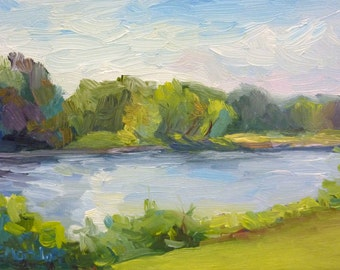 Small Landscape Oil Painting Impressionist River New Jersey