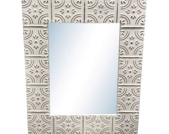 Corner Tulip 16 in. x 22 in. tin framed mirror