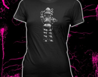 Robby The Robot - Forbidden Planet - Women's Hand screened, Pre-Shrunk, 100% Cotton T-shirt