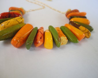 African Necklace, Multicolored Necklace,Yellow, Green,Orange, Mandarin Fantastic color Necklace,Gold Filled 14k Chain.