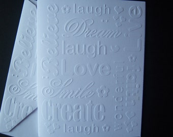 Set of Six Embossed Inspirational Notecards