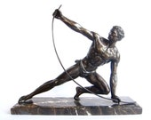 """French Art Bronze Sculpture, Art Deco """"Le Bendeur' by Jean de Roncourt"""