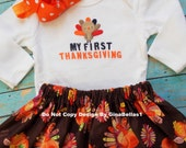 First Thanksgiving day baby girl outfit shirt onesie I'm stuffed thankful for me dress tutu skirt baby shower 3 6 9 12 m bow headband
