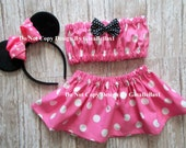 Minnie Mouse Birthday outfit cake smash pink skirt Mickey FREE Ears costume tube top halter 9 12 18 24 m 2t 3t 4t hair bow toddler SALE NEW