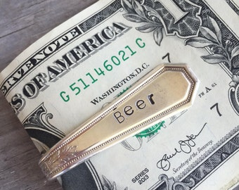 "Upcycled Spoon Money Clip Stamped ""Beer"" Wallet Groomsmen Gift (02582-LV)"