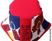 Black Queen Embroidered Bucket Hat | Afro | Afrocentric Hat | Natural Hair Hat | African Silhouette | Red Blue Hat by Hamlet Pericles