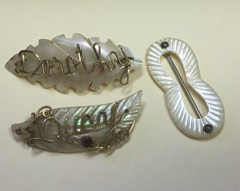 FREE SHIPPING Three Vintage Pieces of Shell Mother of Pearl Brooches and Small Scarf Slide with Monogrammed Names