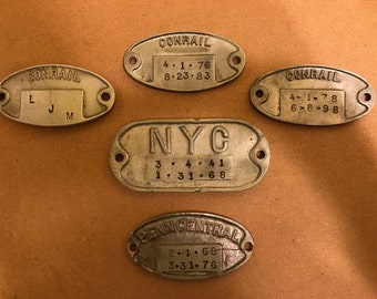 Set of 5 Vintage Railroad Car ID Tags