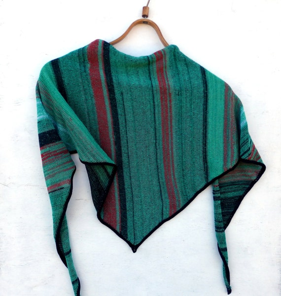 Knit Triangle scarf knit cotton scarf by peonijahandmadeshop