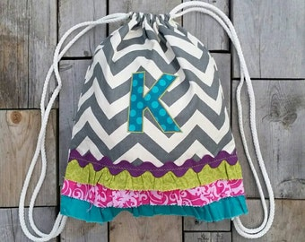 Custom  Drawstring Ruffle Backpack with Monogram - Youth/Adult Size - Grey Chevron