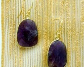 15% Valentines Day Amethyst Earrings with Gold over Sterling Silver Bezels and Earwires (S70B8-18)