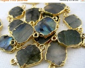 15% Valentines Day Labradorite Petite Freeform Double Bail Connector Charm Pendant with 24k Gold Electroplated Edge (S28B4-17)