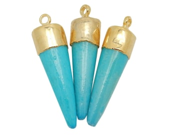 Petite Turquoise Colored Bone Carved Spike Pendant with Electroplated 24k Gold Cap and Bail (S98B12-20)