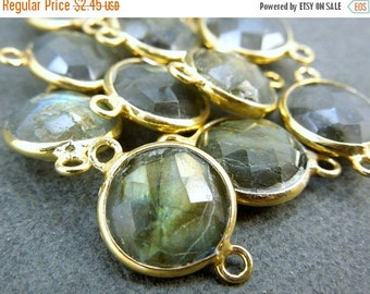 12% off Wholesale Gemstone Connector- Labradorite Station Round Connector - 10mm Gold Vermeil Bezel Link - Double Bail Charm Pendant (WC-21)