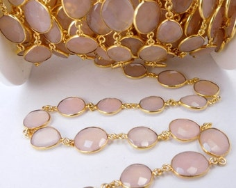 35% off Wholesale Rose Pink Chalcedony Gold Plated Bezel Station Connector Chain Per Foot- ABSOLUTELY STUNNING Chain (CHN-337)